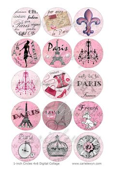 Instant Download - Pink Paris Bottlecap Images / French Poodle, Eiffel Tower, Vintage Postcard Digital Collage Printable 1-Inch Circles via Etsy