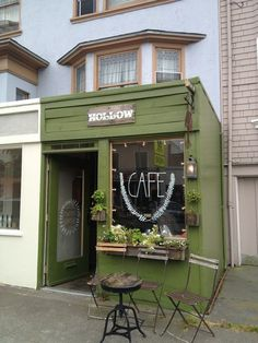 Coffee can be a San Francisco treat.😍 The tiniest coffee shop. Serves ritual coffee and sells lots of tiny things for your home or your unorganized drawer of weird beautiful miscellaneous shit. Deco Cafe, Petite France, Mint Green Aesthetic, Coffee Shop Design, Bakery Shop Design, Small Coffee Shop, Little's Coffee, Coffee Drinks, Coffee Beans