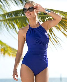 My new swimsuit: Badgley Mischka Ruched One-Piece @ Macy's