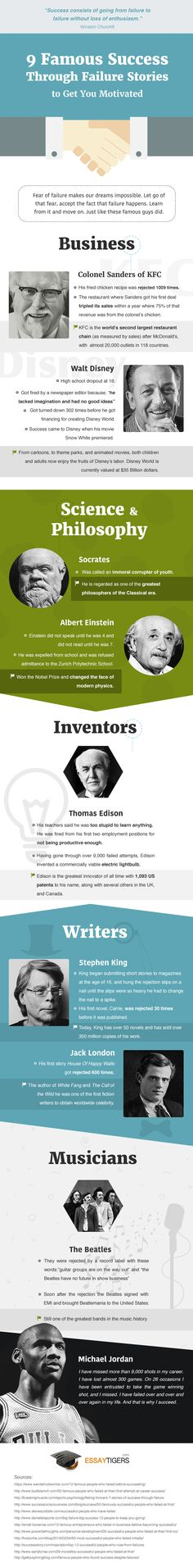 9 Famous Success Trough Failure Stories #infographic #SuccessStories #Business