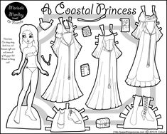 coloring page disney prince and princesses paper doll | Click Here for a PDF to Print } { Click Here for a PNG to Print ...