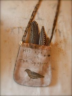 Sparrow Pocket FREEHAND Cross Stitch PATTERN by notforgottenfarm, $8.00