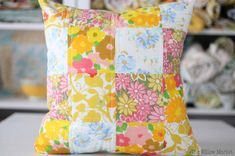 Quilted Patchwork Pillow Cover - Made from Vintage Sheets - 16 by 16 Inch Cover - Vintage Home Decor - Throw Pillow - Vintage Linens