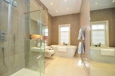 Lovely shower cubicle and contemporary bath positioned under the window. A beau. Bedford Park, The Bedford, Semi Detached, Detached House, Contemporary Baths, Shower Cubicles, Corner Bathtub, Modern Bathroom, Property For Sale