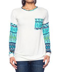 Love this Mint & White Geometric-Accent Crewneck Tee on #zulily! #zulilyfinds