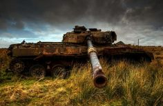 An Abandoned Tank Slowly Rusts Away on the Otterburn Ranges in Northern England