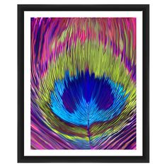 Add artful appeal to your living room or master suite with this classic framed print, featuring a bold peacock feather motif.  Produ...