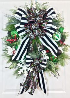 Whimsical Green Red and Black Christmas Pine by WilliamsFloral