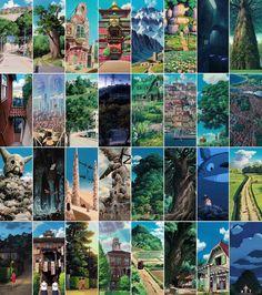 Watch an anime produced by Studio Ghibli / 지브리 작품 속의 배경은 하나하나가 독특한 디자인과 색감, 그리고 작품의 테마를 일관되게 추구하는 통일성을 지닌다.