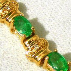 "Emerald, Diamond & 14k Gold Vintage Tennis Bracelet, TLC.  See this vintage bracelet at the ""Vintage Jewelry Stars"" shop at http://www.rubylane.com/shop/vintagejewelrystars!!"