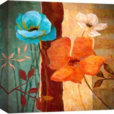 PTM Garden Painting Print on Wrapped Canvas Faux Painting Walls, Painting Prints, Watercolor Paintings, Canvas Wall Art, Canvas Prints, Garden Painting, Abstract Flowers, Artwork, Wrapped Canvas