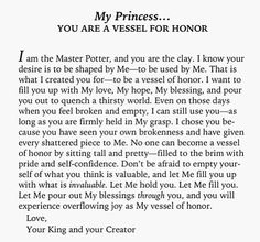 His Princess: Love Letters from Your King - Sheri Rose Shepherd (You Are A Vessel For Honour) Faith Quotes, Bible Quotes, Gods Princess, My Princess Quotes, God First, Quotes About God, Spiritual Inspiration, Heavenly Father, Love Letters
