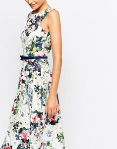 Image 3 ofPaper Dolls Tall Floral Printed Midi Prom With Bow Detail