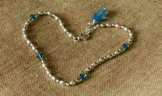 Ankle bracelet in sterling silver blue and green by OwlandFirefly