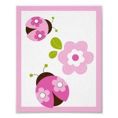 Ladybug Pink Green Flower Nursery Wall Art Print by little_prints