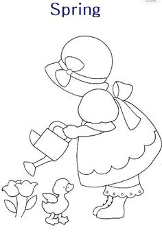 sunbonnet sue & watering can
