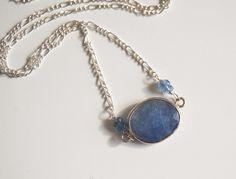 Wedding Jewelry - Bezel setting Iolite Blue sapphire rondelles Pendant necklace on Sterling silver.  #handmade  #thecraftstar  $55.00