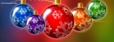 Colorful Glowing Christmas Ornaments  Facebook Cover CoverLayout.com