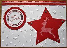 Weihnachtskarte, 2017, geprägt, gestempelt, embossed, gestanzt, Hirsch, Stern