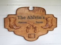 WOOD WALL ART ~ Wedding Signs Wood ~ Wooden Wedding Signs ~ Wood Signs Wedding ~ Rustic Wedding Signs ~ Custom  Wood Signs ~ Personal Gift WOOD WALL ART: This custom rustic wood wedding sign comes with personalized engravings and 3D wood carvings (cowboy/cowgirl boots and crossed pistols). It's the perfect Western Cowboy/Cowgirl wedding sign that will look great in your home or office. This makes the perfect couples gift.