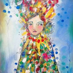 """""""Through the Looking Glass"""" by Juliette Crane // 11 x 14"""" on canvas // Oils, acrylics, inks, pencil, pen and pastel."""