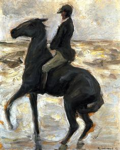 'Horseback Rider on the Beach, Facing Left', Painting by Max Liebermann (1847-1935, Germany)