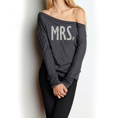 MRS. Shirt OFF Shoulder Glitter #Bride #Shirt Long Sleeve by #NobullWomanApparel, for only $34.99! Click here to buy https://www.etsy.com/listing/187183747/mrs-shirt-off-shoulder-glitter-bride?utm_source=Pinterest&utm_medium=PageTools&utm_campaign=Share