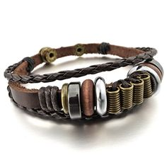 JBlue Jewelry Men,Women's Alloy Genuine Leather Bracelet Bangle Braided Tribal (with Gift Bag) Bracelets With Meaning, Link Bracelets, Bracelets For Men, Bangle Bracelets, Tribal Bracelets, Braided Bracelets, The Bangles, Unusual Gifts For Men, Leather Bra