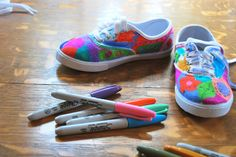 Sharpie marker tennis shoes for party activity or craft with kids