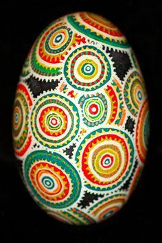 Contemporary Batik Eggshell Colorful Medallions