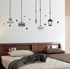 Lights and stars wall decal Simple Wall Paintings, Creative Wall Painting, Creative Wall Decor, Wall Painting Decor, Wall Painting For Bedroom, Creative Walls, Bedroom Wall Designs, Wall Decals For Bedroom, Room Wall Decor