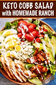 This classic Cobb salad is made with seared chicken breasts, crunchy bacon, sweet tomatoes, creamy hard-boiled eggs, buttery avocado and drizzled with a fantastic and low-carb homemade ranch dressing! Perfect for Keto and low-carb living! Easy Healthy Recipes, Low Carb Recipes, Diet Recipes, Chef Salad Recipes, Snack Recipes, Clean Eating, Healthy Eating, Healthy Salads, Ensalada Cobb
