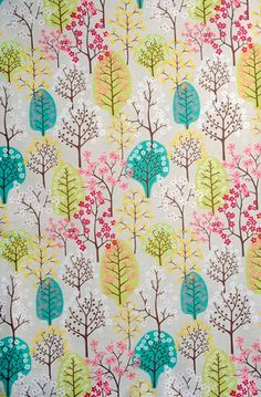 Contemporary Scandinavian Fabric from Spira of Sweden - Haga Green - Pretty Trees on beige backdrop
