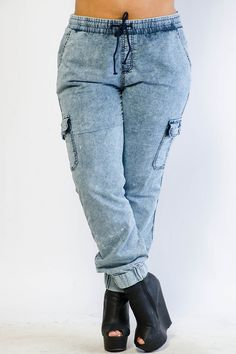 834030fb17e Edgy Cargo Denim Joggers Other Outfits
