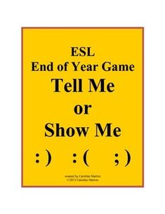 This fast-paced game makes a good end of year or back to school review for ESL students. The pressure's on as a player has only one minute to give clues (verbally or with gestures), hoping his team can guess the list of 6 words in a set category. Vocabulary targeted in this game: verbs, clothing, foods, animals, professions, places, feelings, transportation, sports and more. Intermediate ESL 6th-10th gr. $4.00