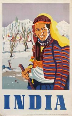 DP Vintage Posters - Woman with Rooster Original Vintage India Travel Poster