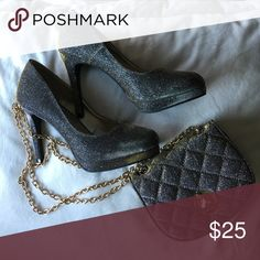 brand new matching set !!!! Brand new never used sparkly shoes and matching handbag to go with it! Shoes Heels