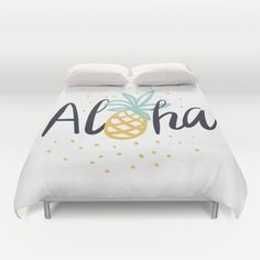 Aloha lettering and pineapple Duvet Cover by OJardin. Worldwide shipping available at Society6.com. Just one of millions of high quality products available.