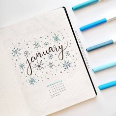 15 Lovely January Cover Ideas For Your Bullet Journal - Craftsonfire - - These January cover layout ideas will truly inspire you to take your creativity and art skills to a whole new level for your 2019 Bullet Journal. February Bullet Journal, Bullet Journal Cover Ideas, Bullet Journal Monthly Spread, Bullet Journal Notebook, Bullet Journal School, Bullet Journal Inspo, Bullet Journal Layout, Bullet Journal Front Page, Journal Covers
