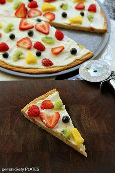 """Persnickety Plates: Fruit Pizza. I made this for my college roommate from India...she was extremely suspicious of """"fruit pizza"""" but loved it. Who doesn't?"""