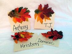 "Cute ""Family Tree"" nametags for the Thanksgiving table."