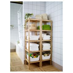 Practical corner In the bathroom wooden shelf for towels