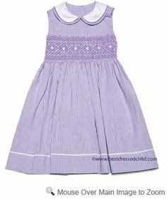 Anavini Velani Girls Lilac Gingham Seersucker Dress - Sleeveless with Collar
