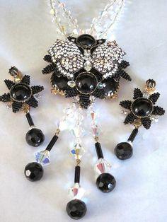 STANLEY HAGLER Black Glass Bead, Rhinestone & Crystal Butterfly Necklace Set