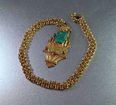 Art Deco Necklace Peking Glass Enamel Pendant Asian Chinese