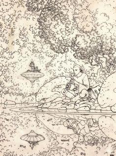 "Jean Giraud ""Moebius"" Jean Giraud Moebius, Moebius Art, Illustrations, Illustration Art, Ligne Claire, Fantasy Comics, Art Moderne, Art Graphique, French Artists"