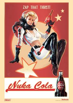 Fallout Nuka Cola Retro Pin Up Woman Star Poster by TheGoldenNook