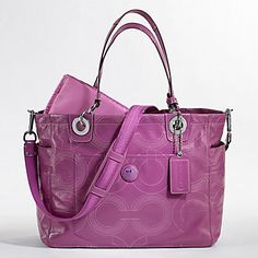 Pink Coach Diaper Bag | Pink New Alex Stitched Patent Leather Baby Bag Coach Diaper Bag