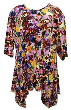 AKH Fashion Lagenlook ausgefallene Tunika Shirt in lila große Größen bei www.modeolymp.lafeo.de
