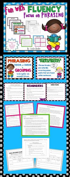 Fluency: Focus on Phrasing  Includes Directions, Posters, Literacy Center Cards, Self and Buddy Evaluations and more!